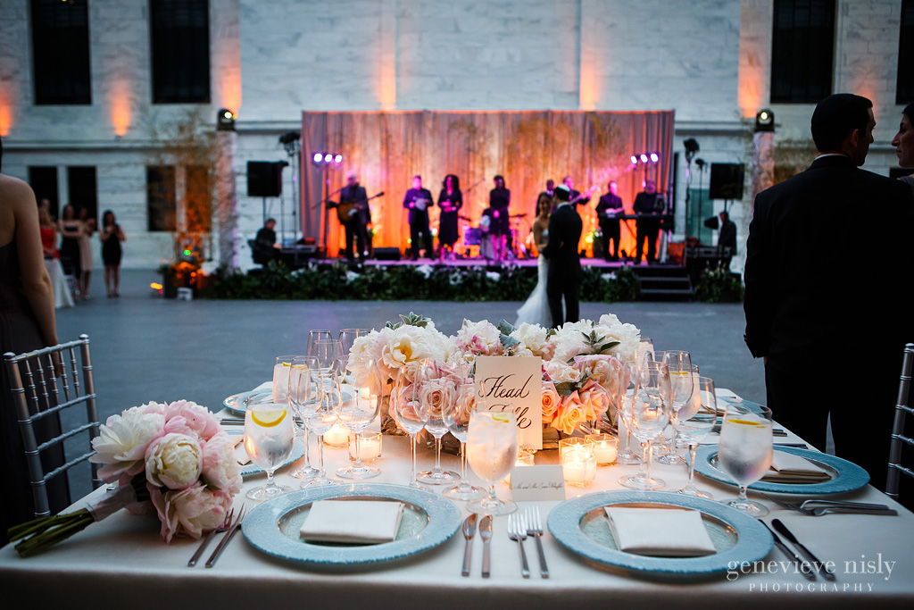 Cleve Art Museum head table dancing bride and groom with band TREP Lights